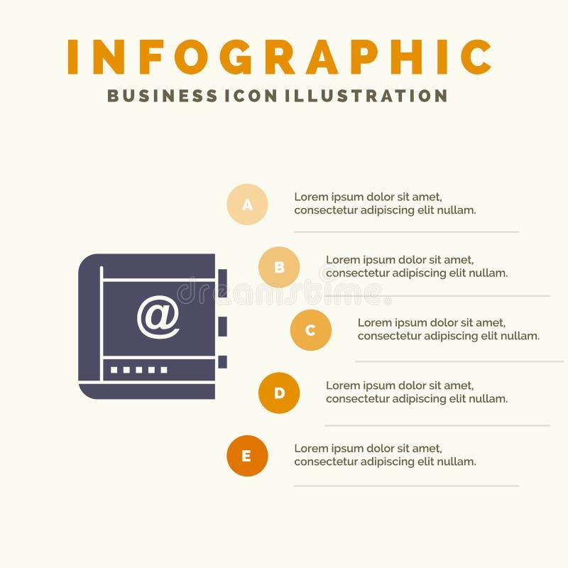 Książka, biznes, kontakt, kontakty, internet, telefon, Telefoniczny Stały ikony Infographics 5 kroków prezentacji tło ilustracji