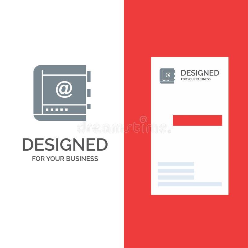Książka, biznes, kontakt, kontakty, internet, telefon, telefonu logo Popielaty projekt i wizytówka szablon, royalty ilustracja
