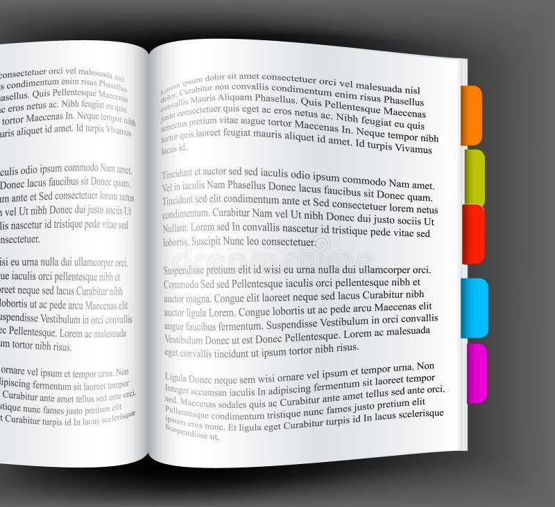 Download Książka Bookmarks Kolorowego Otwiera Ilustracja Wektor - Ilustracja złożonej z bookmark, literatura: 13326540