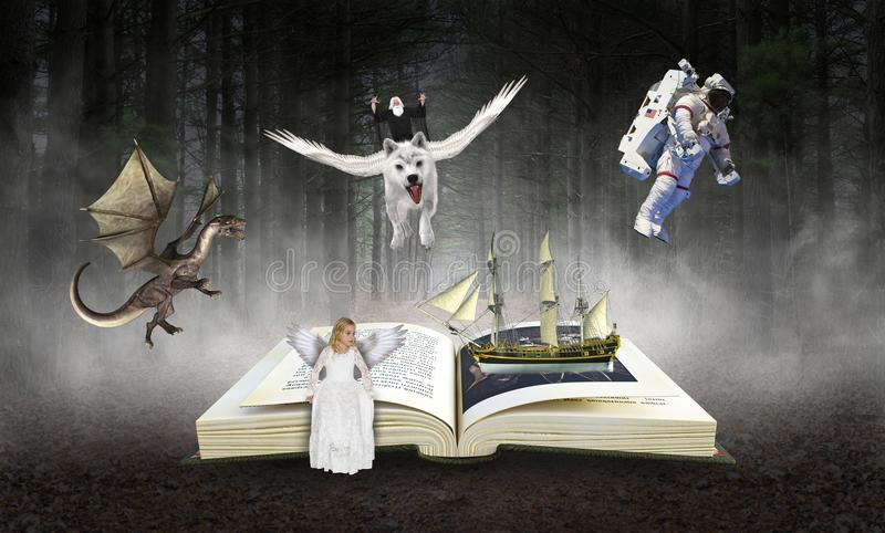 Książka, czytanie, wyobraźnia, Storybook, opowieści zdjęcia royalty free