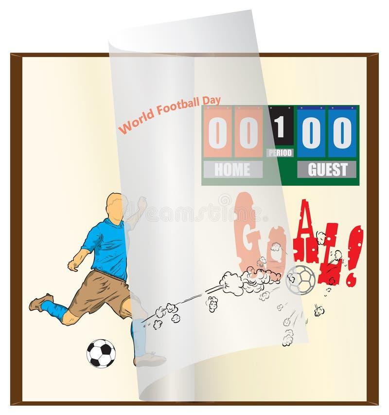 Książka dla Światowego Futbolowego dnia royalty ilustracja