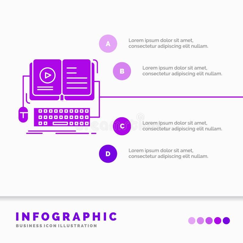 książka, ebook, Infographics szablon dla strony internetowej i prezentacja, interaktywny, mobilny, wideo, glif Purpurowej ikony i ilustracja wektor