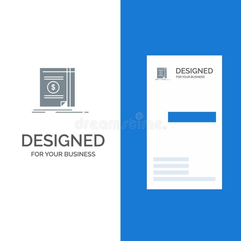 Książka, gotówka, pieniądze, powieść logo Popielaty projekt i wizytówka szablon, ilustracji