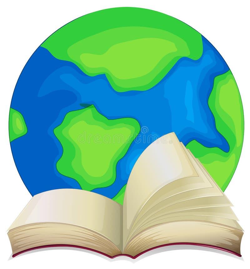 Książka i świat na białym tle ilustracja wektor