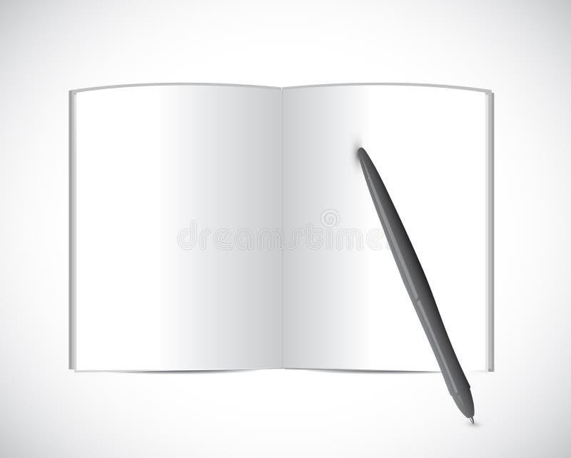 Książka i pióro. ilustracyjny projekt royalty ilustracja