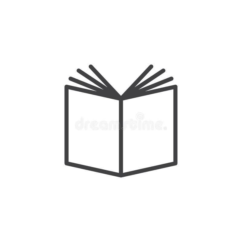 Książka konturu otwarta ikona ilustracja wektor