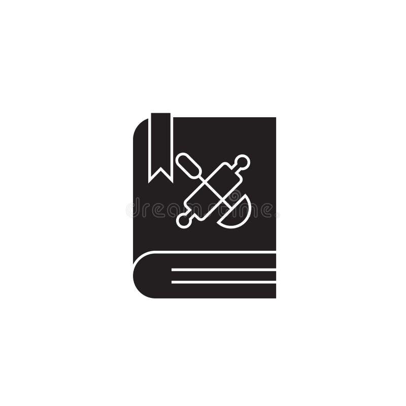 Książka kucharska, przepisu pojęcia książkowa czarna wektorowa ikona Książka kucharska, przepis książkowa płaska ilustracja, znak ilustracja wektor