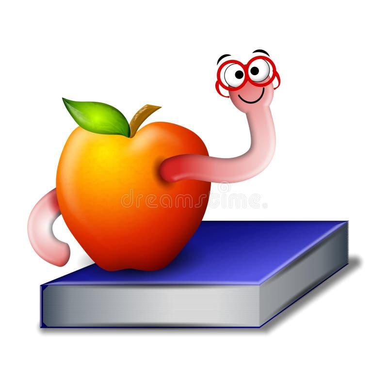 książka mól książkowy jabłko ilustracja wektor