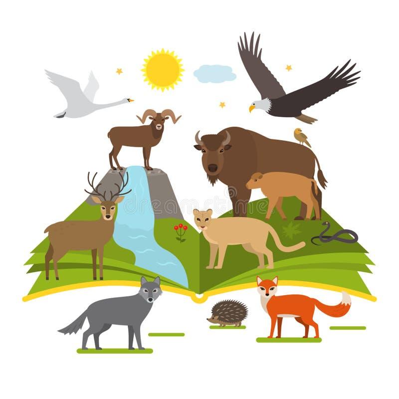 Książka o parkach narodowych natura duży set zwierzęta i ptak kreskówka projektuje P?aski wektor ilustracja wektor