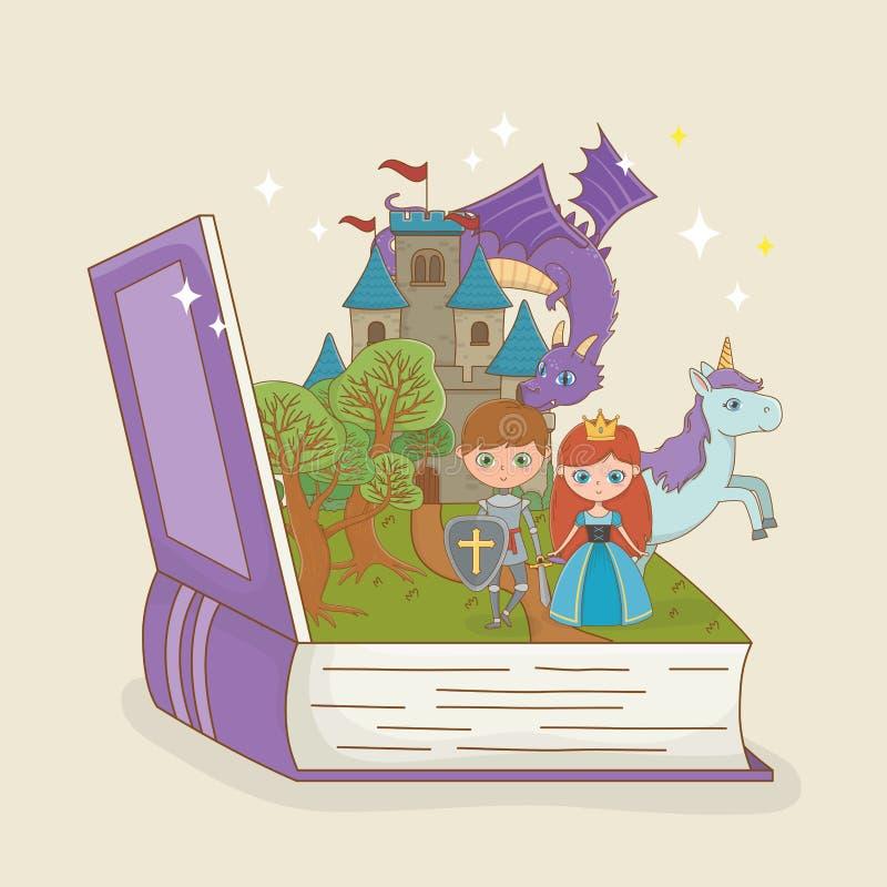 Książka otwarta z bajka kasztelem z smokiem i charakterami ilustracji