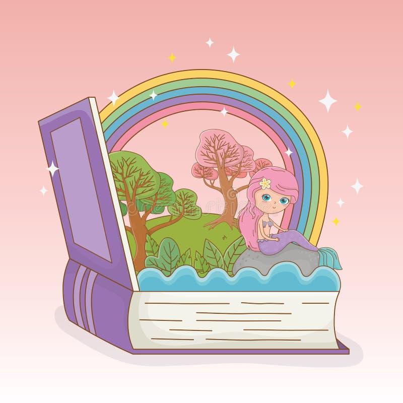 Książka otwarta z bajki tęczą i syrenką ilustracji