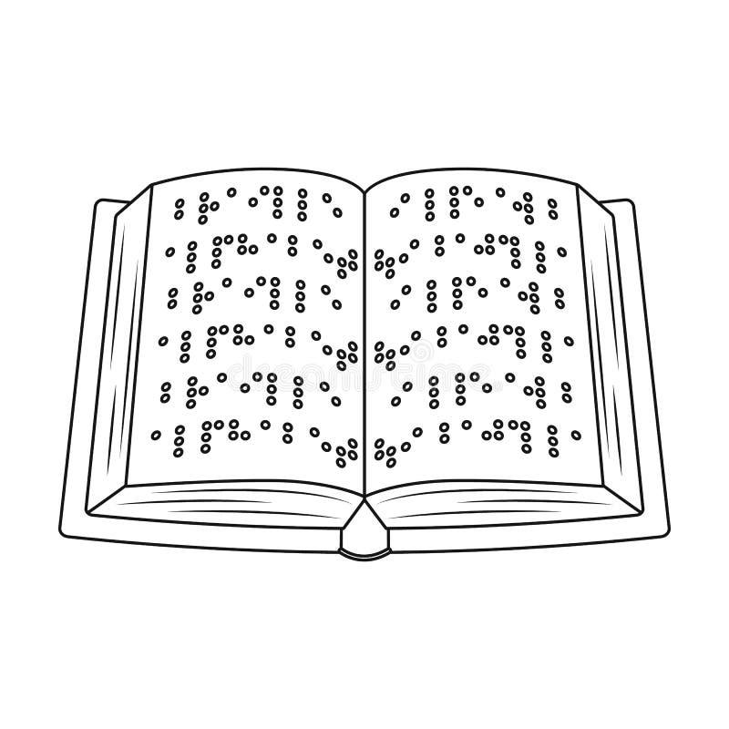 Książka pisać w Braille ikonie w konturu stylu odizolowywającym na białym tle ilustracji