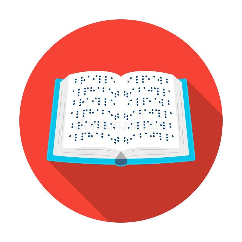 Książka pisać w Braille ikonie w mieszkanie stylu odizolowywającym na białym tle royalty ilustracja
