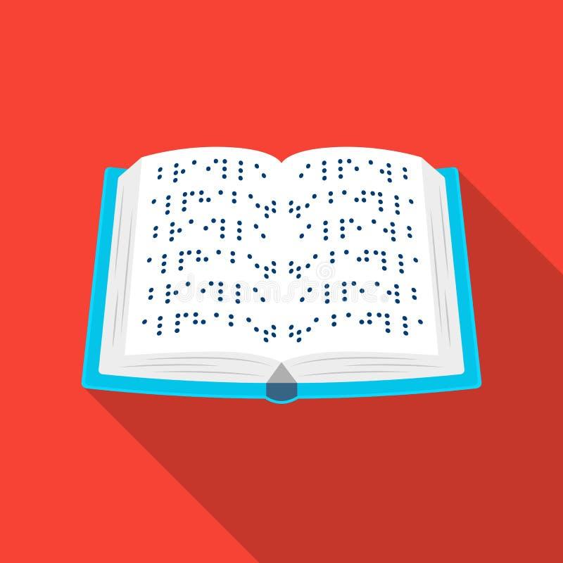 Książka pisać w Braille ikonie w mieszkanie stylu odizolowywającym na białym tle Tłumacza i tłumacza symbolu zapasu wektor ilustracja wektor