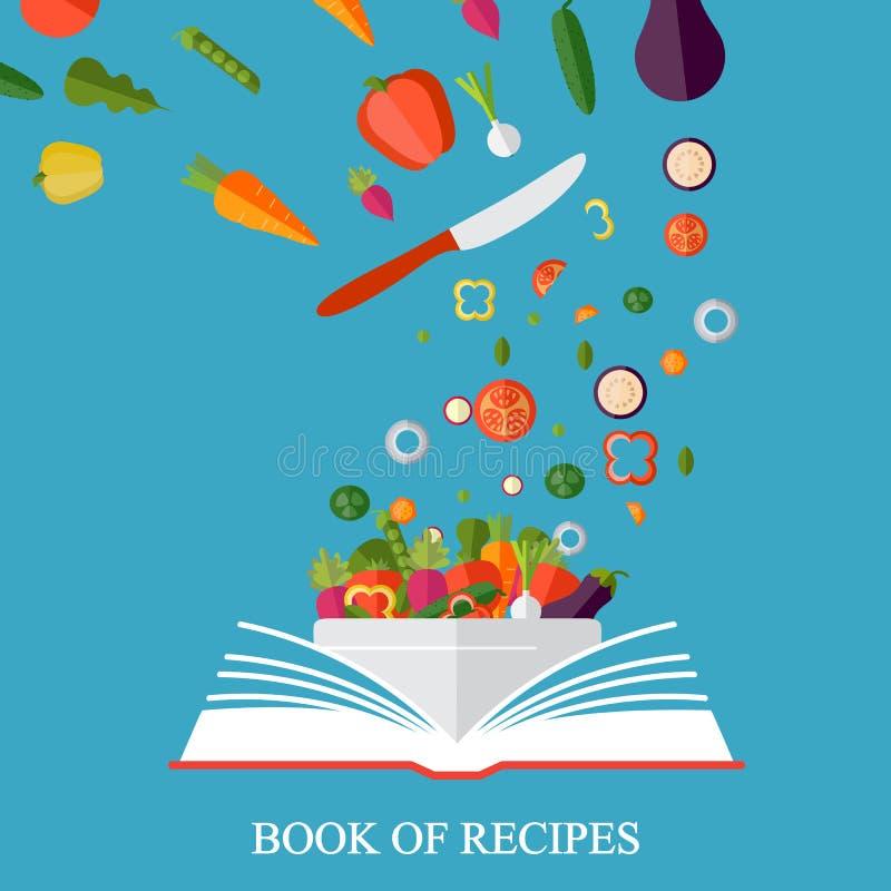 Książka przepisy, książka kucharska, najlepszy przepisy Jarosz, zdrowy je ilustracja wektor