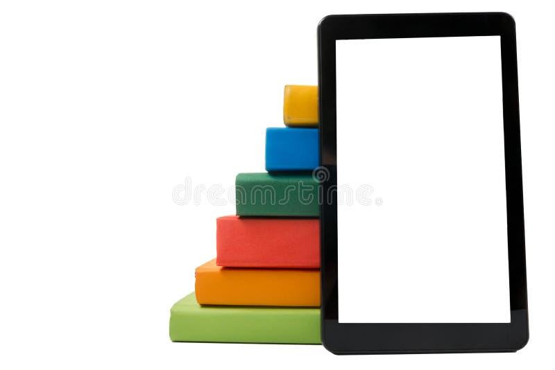 książka rezerwuje czytelnik kolorową elektroniczną stertę koncepcja elektronicznej biblioteki tylna szkoły kosmos kopii obrazy stock