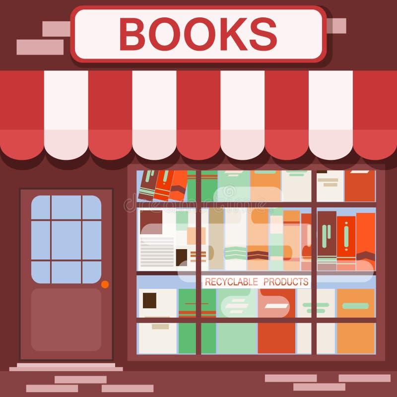 Książka sklepu tła budynku fasadowa wektorowa architektura z miastową zewnętrzną bookstore mieszkania stylu centrum grafiką ilustracji
