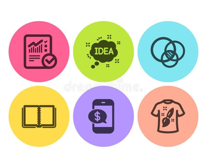 Książka, Sprawdzać obliczenie i Euler diagram ikony ustawiać, Pomysł, telefon zapłata i koszulka projekt znaki, wektor ilustracji