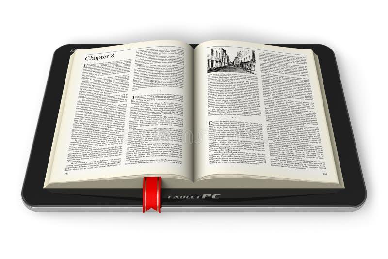 Książka w pastylka komputerze ilustracji