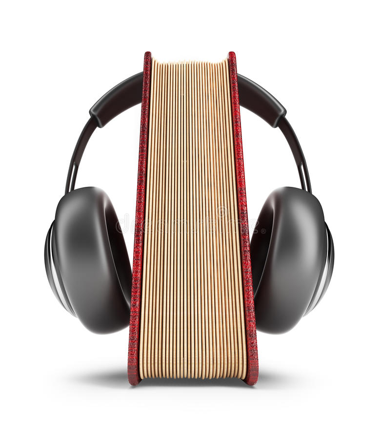 Książka z audio hełmofonami. 3D ikona   royalty ilustracja