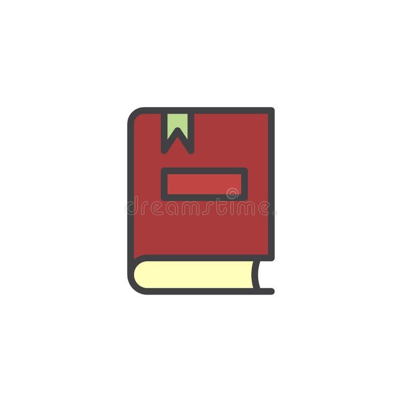 Książka z bookmark wypełniającą kontur ikoną royalty ilustracja