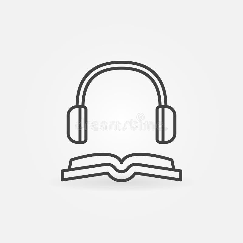Książka z hełmofon kreskową ikoną royalty ilustracja