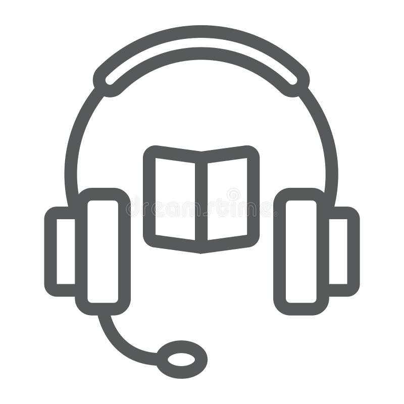 Książka z hełmofonami wykłada ikonę, e uczenie royalty ilustracja