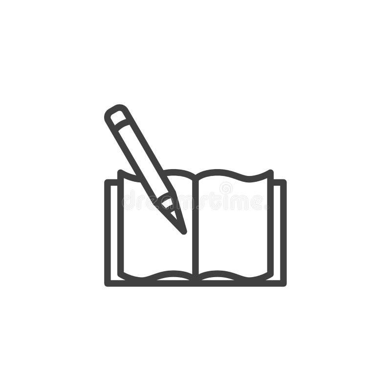Książka z ołówek linii ikoną royalty ilustracja