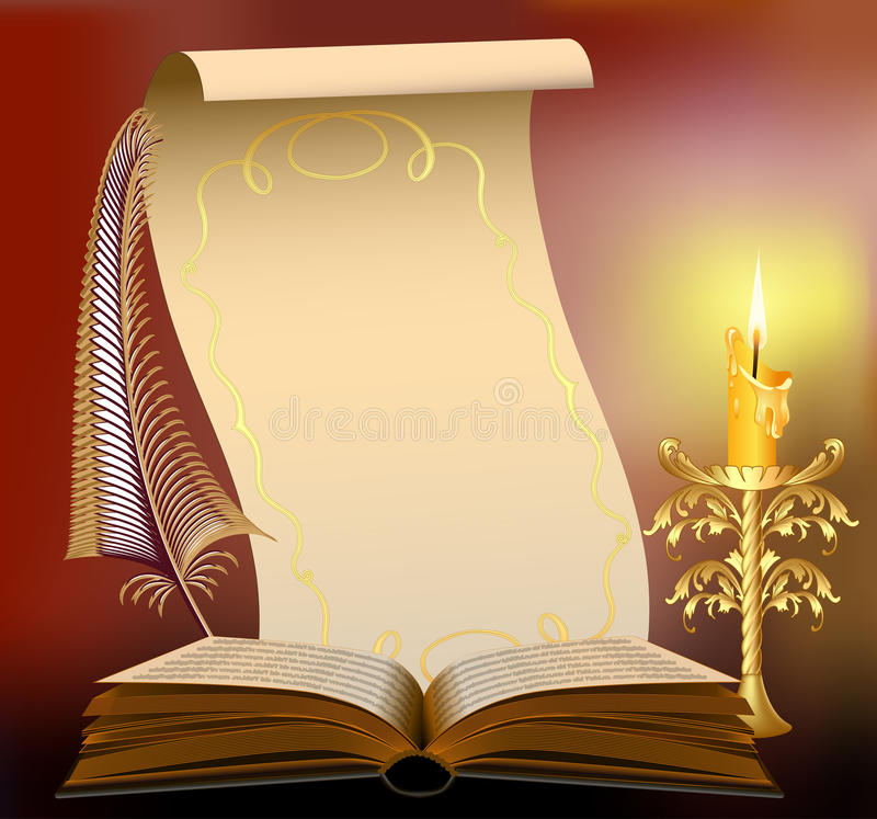 Książka z płonącą świeczką i piórko papirusem ilustracja wektor
