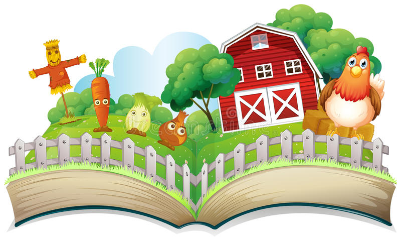 Książka z wizerunkiem gospodarstwo rolne royalty ilustracja