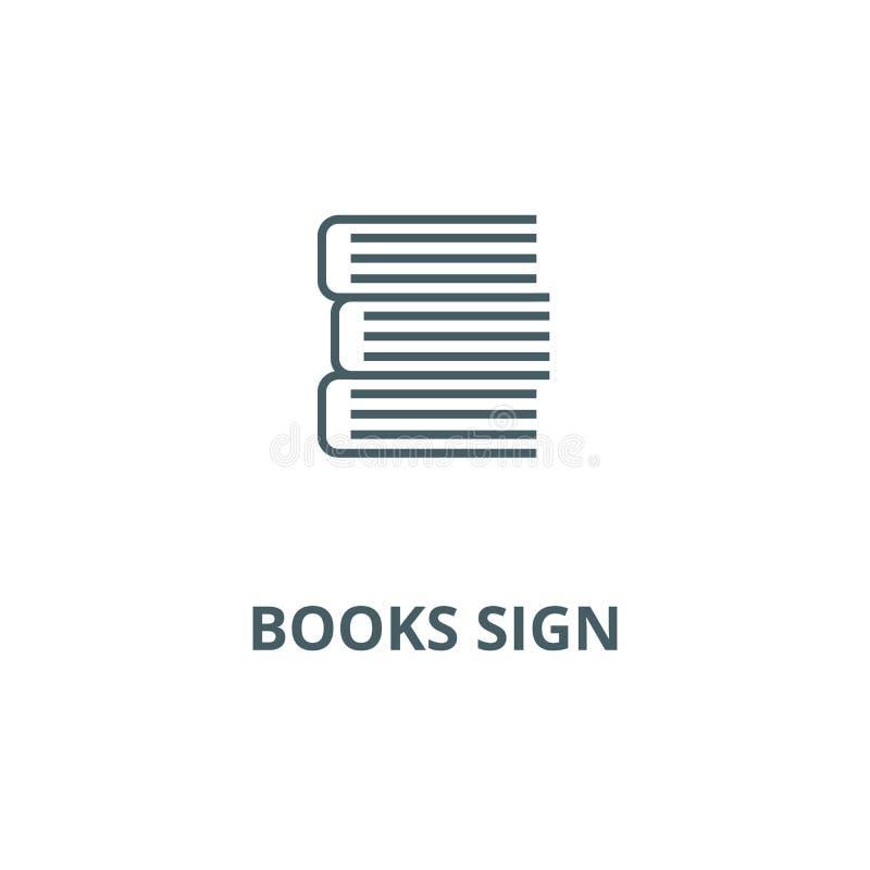 Książka znaka linii ikona, wektor Książka znaka konturu znak, pojęcie symbol, płaska ilustracja royalty ilustracja