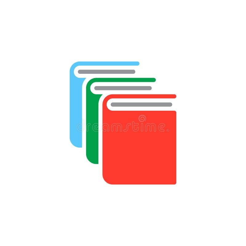 Książki, biblioteczny ikona wektor, wypełniający mieszkanie znak, stały kolorowy piktogram odizolowywający na bielu ilustracji