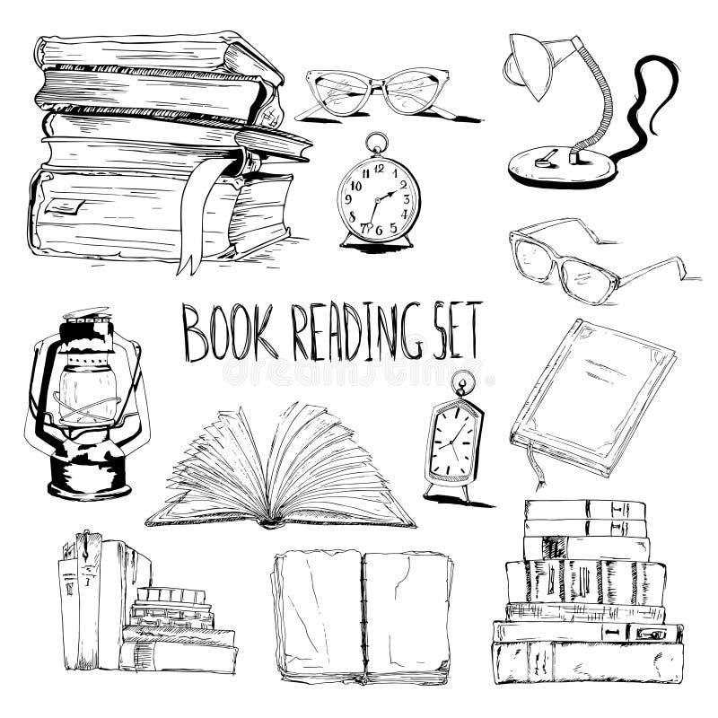 Książki czyta set ilustracji