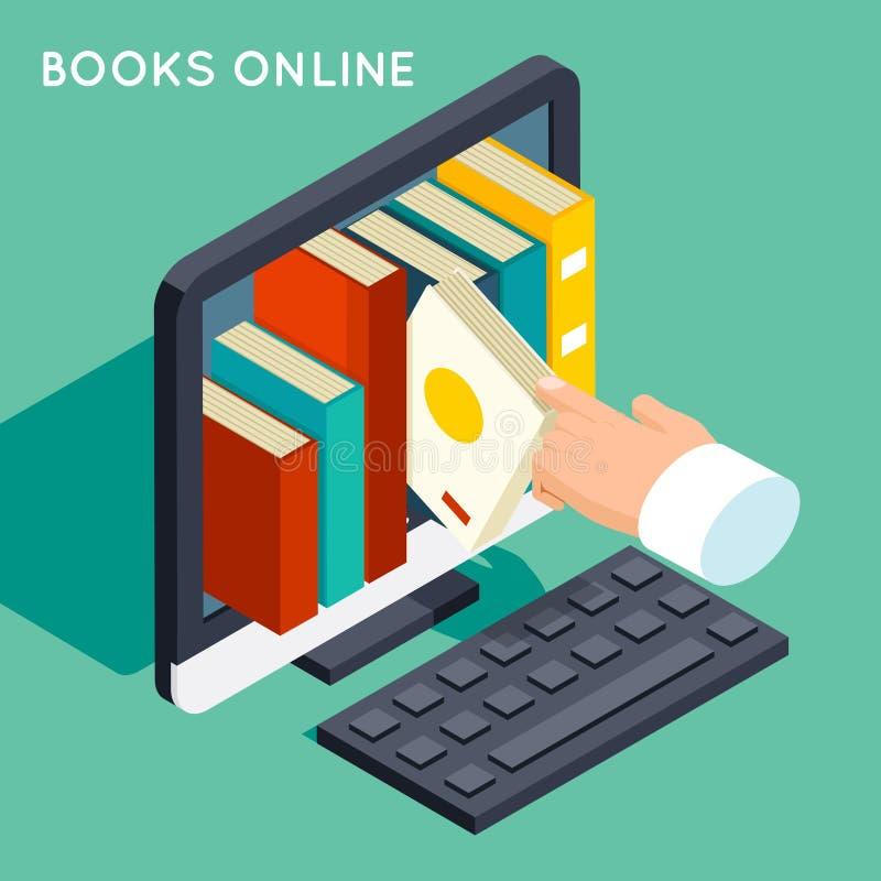 Książki 3d mieszkania online biblioteczny isometric pojęcie ilustracja wektor