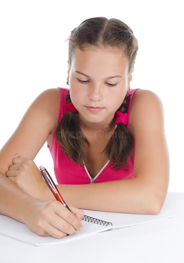 książki dziewczyna pisze writing potomstwach fotografia stock