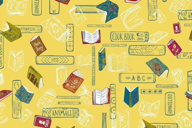 Książki i czytania Kolorowy Żółty tło ilustracja wektor