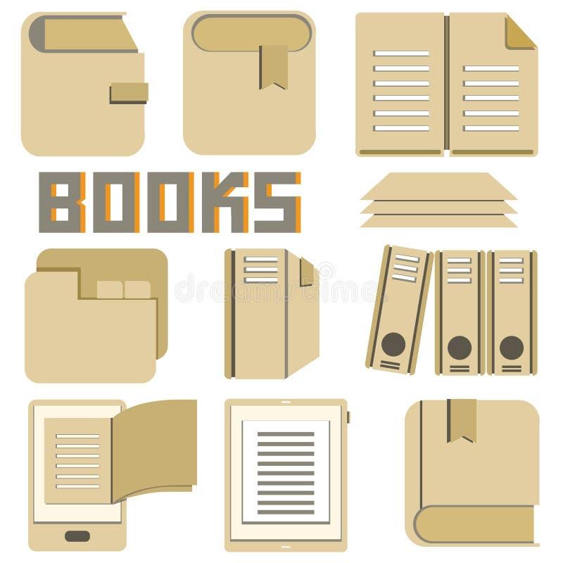 Książki i dokumentu ikony ilustracji