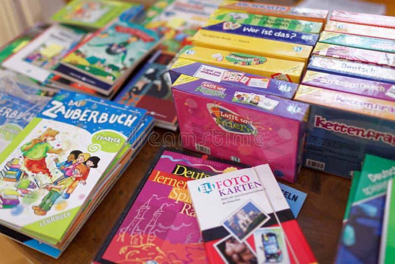 Książki i manuały dla uczyć się niemiec fotografia stock