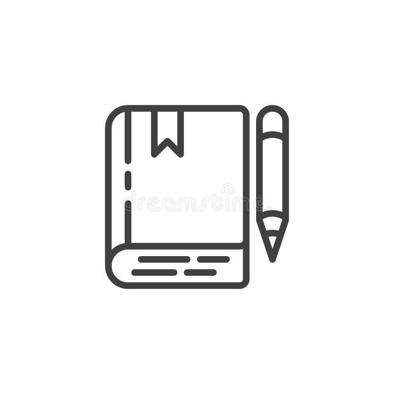 Książki i ołówka kreskowa ikona ilustracja wektor