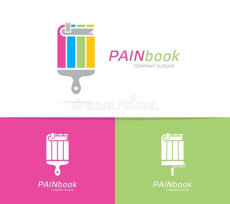 Książki i paintbrush loga kombinacja Bookstore, biblioteki ikona i symbol lub Unikalny muśnięcia i edukaci logotypu projekt ilustracja wektor