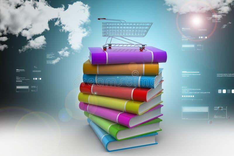 Książki i tramwaj w colour tle ilustracji
