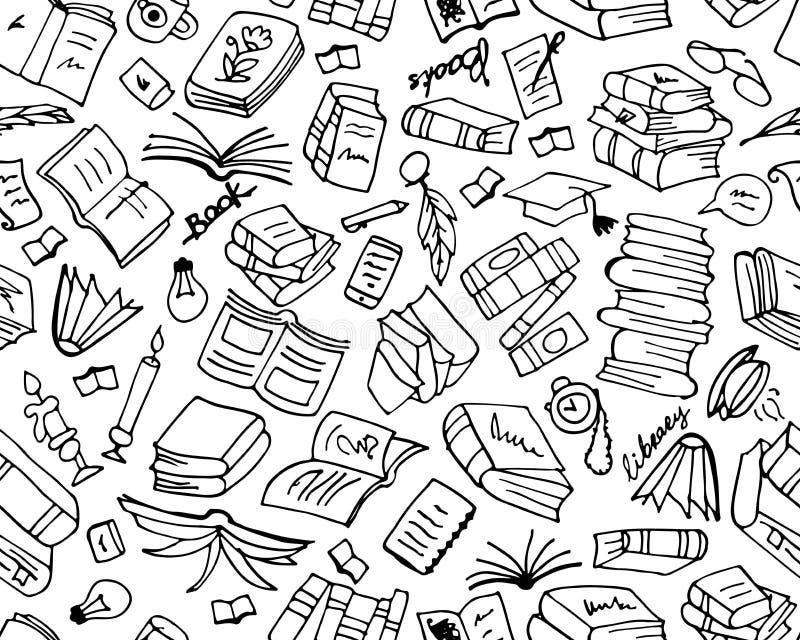 Książki kolekcja, bezszwowy wzór dla twój projekta ilustracja wektor