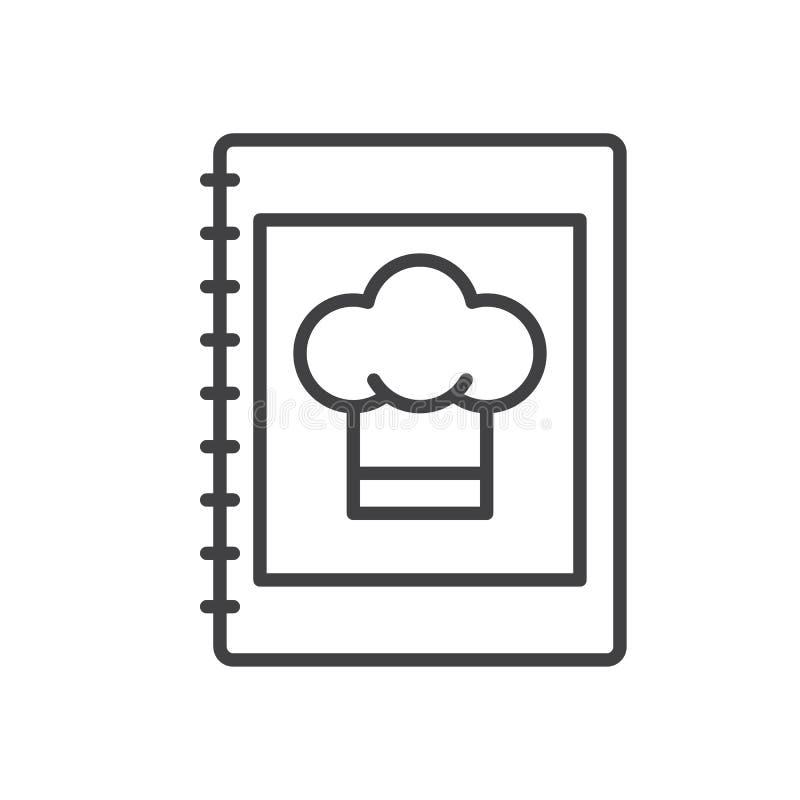 Książki kucharska kreskowa ikona, konturu wektoru znak, liniowy stylowy piktogram odizolowywający na bielu ilustracja wektor