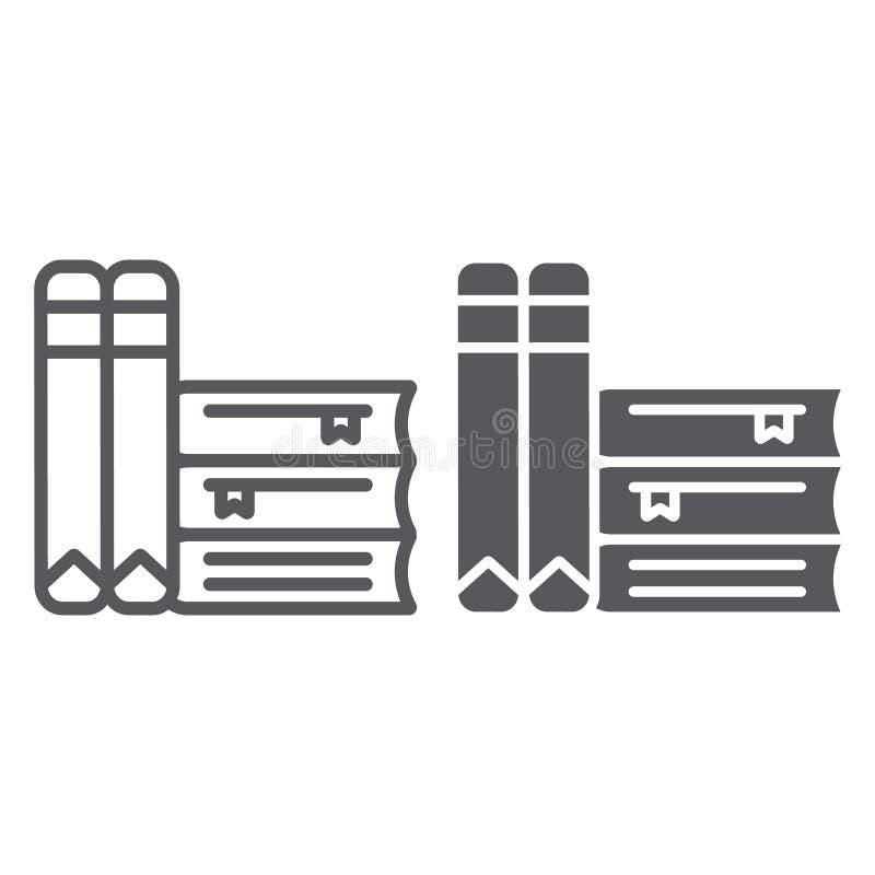 Książki linia, glif ikona, szkoła i uczenie, literatura znak, wektorowe grafika, liniowy wzór na białym tle ilustracji