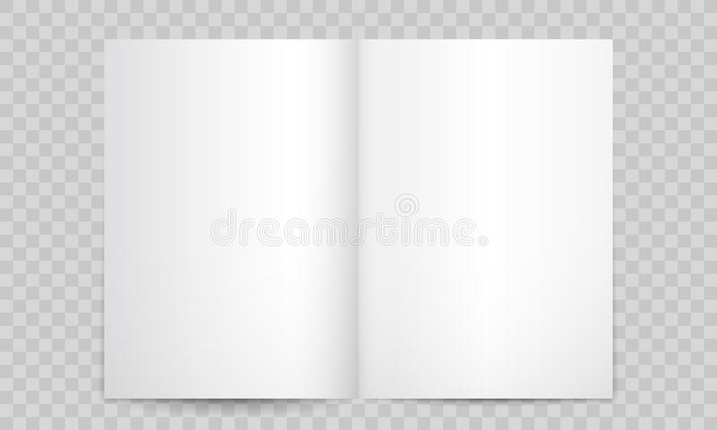 Książki lub magazynu otwarte puste strony Odosobniony 3D katalogu A4 broszury lub broszurki pionowo mockup, wektor puste strony ilustracja wektor