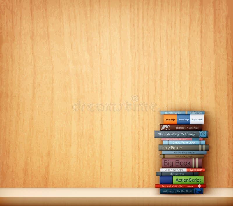 Książki na drewnianej półce ilustracja wektor