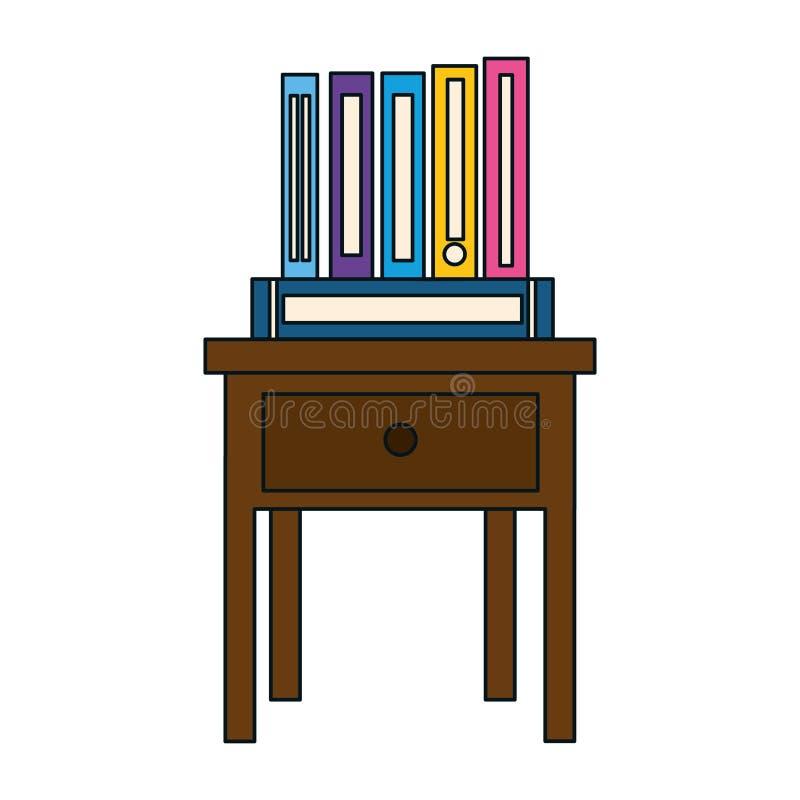 Książki na wezgłowie stołu ikonie ilustracja wektor