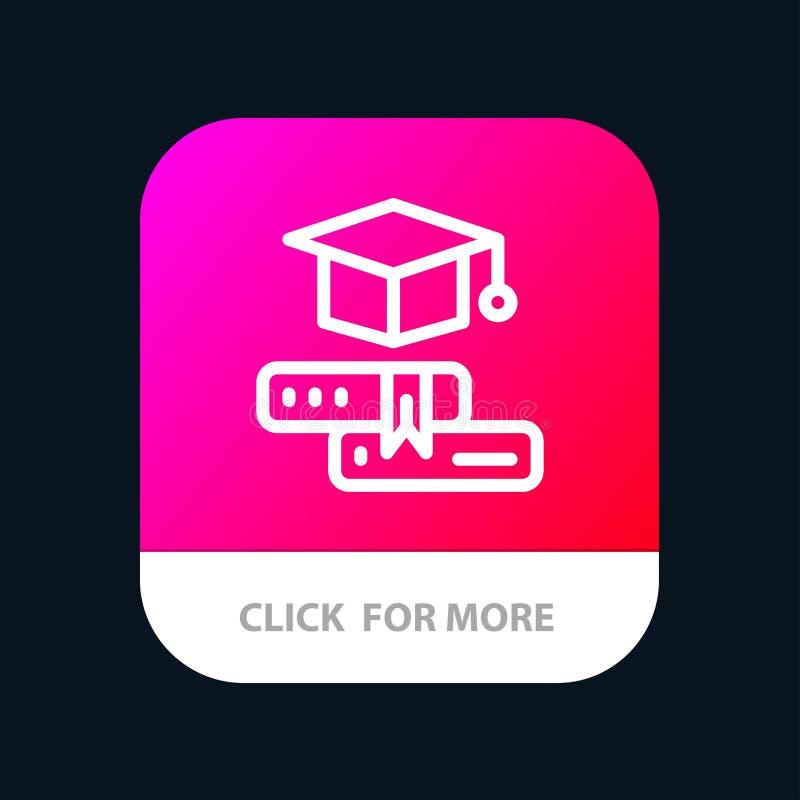 Książki, nakrętka, edukacja, skalowania App Mobilny guzik Android i IOS linii wersja ilustracji