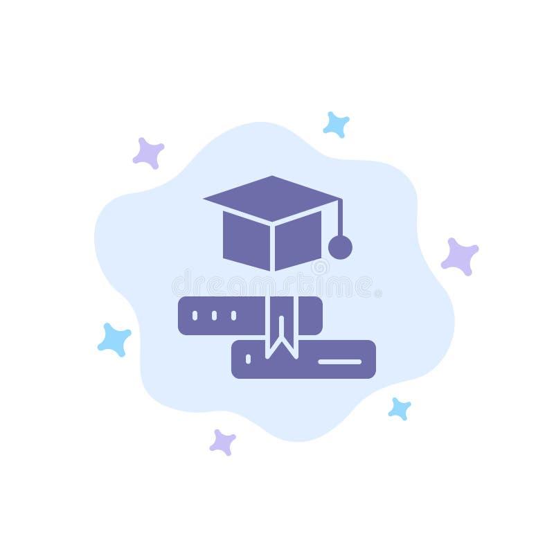 Książki, nakrętka, edukacja, skalowanie Błękitna ikona na abstrakt chmury tle ilustracji