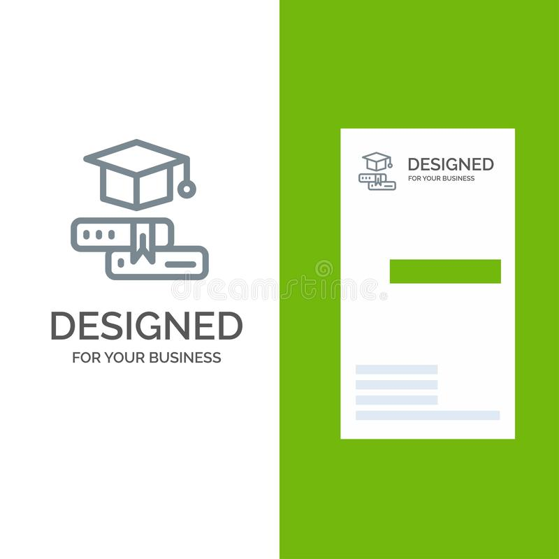 Książki, nakrętka, edukacja, skalowanie logo Popielaty projekt i wizytówka szablon, ilustracja wektor